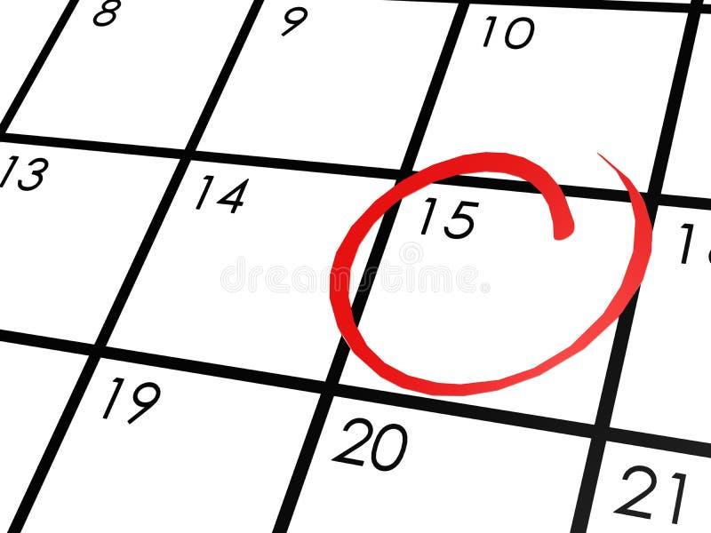 Kalender med den 15th cirklade dagen royaltyfri illustrationer