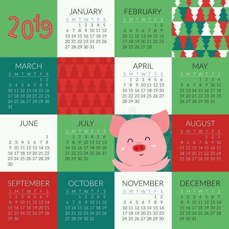 kalender 2019 med det gulliga svinsymbolet av året royaltyfri illustrationer
