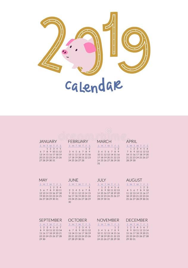 kalender 2019 med det gulliga svinsymbolet av året stock illustrationer