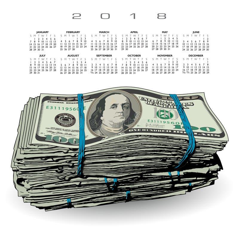 Kalender 2018 med en fet bunt av 100 dollarräkningar vektor illustrationer