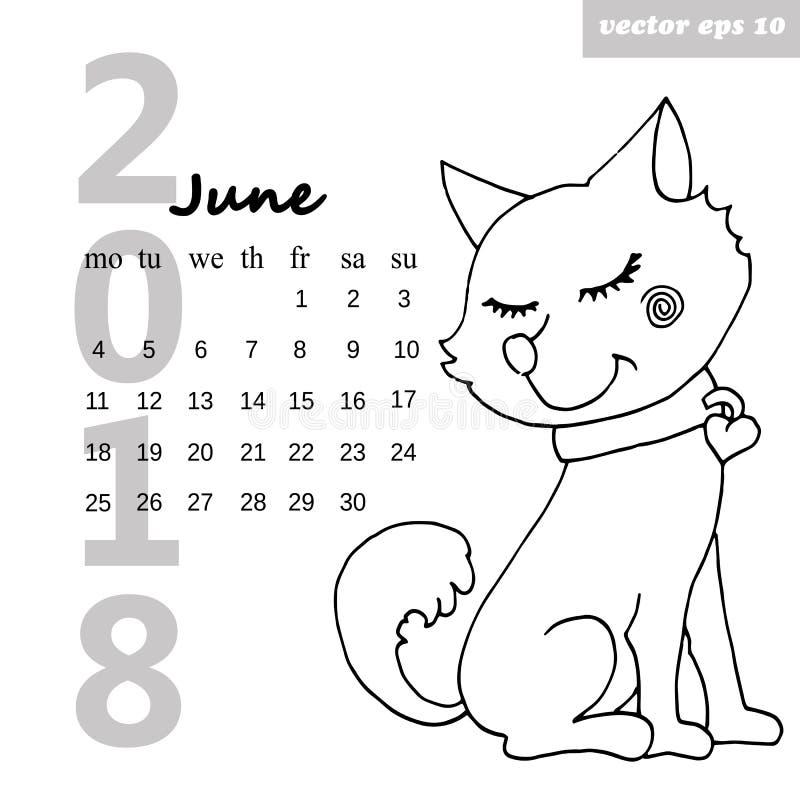 Kalender med en hund royaltyfri illustrationer