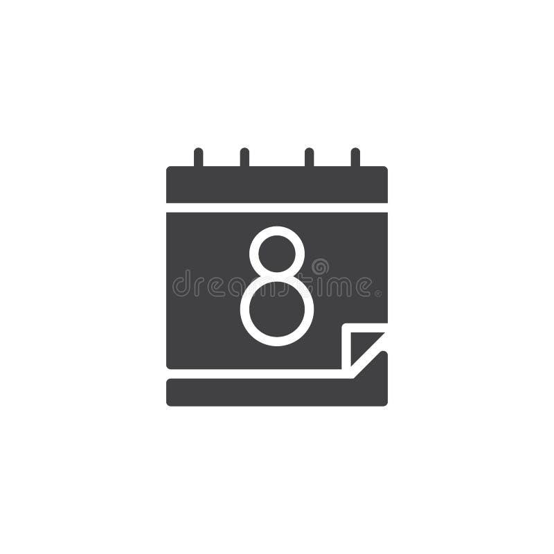 Kalender med 8 för datumvektor för marsch symbolen stock illustrationer