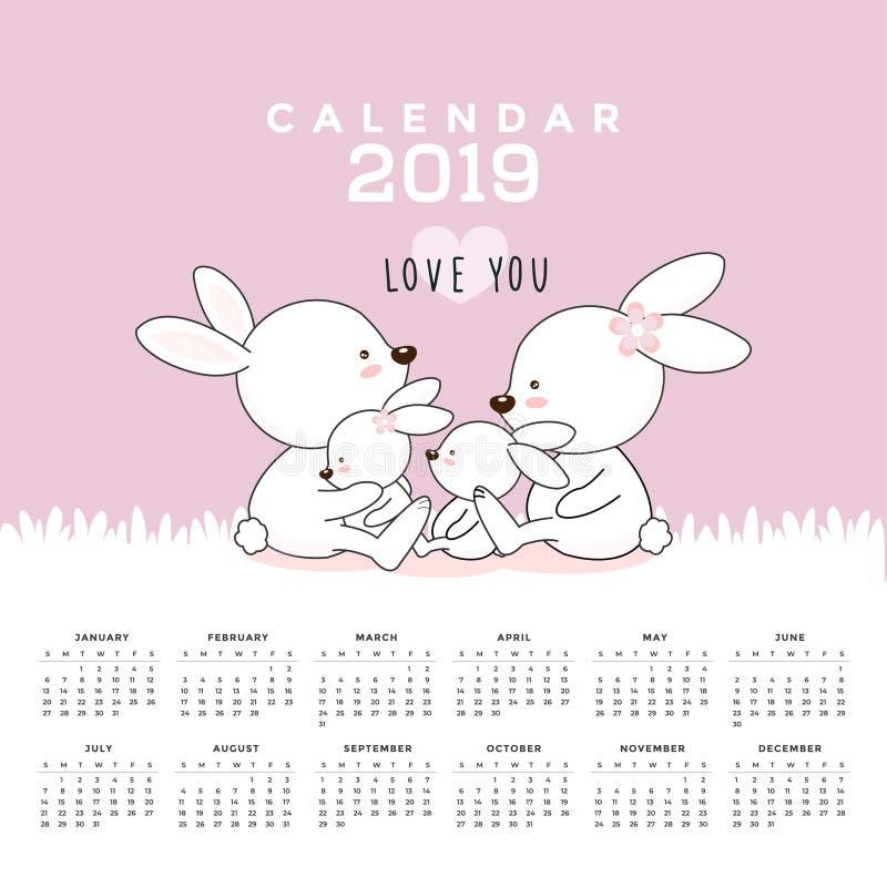 Kalender 2019 med gulliga kaniner Hand tecknad vektorillustration royaltyfri illustrationer