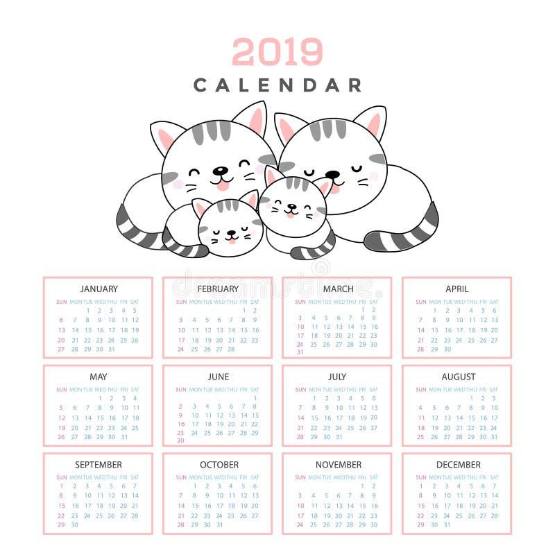 Kalender 2019 med gulliga katter stock illustrationer