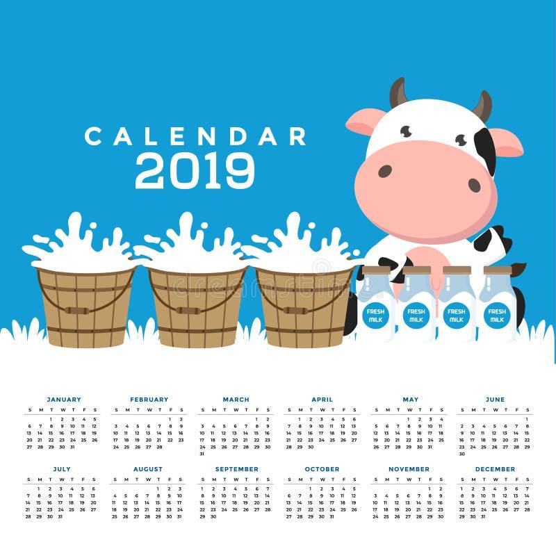 Kalender 2019 med gulliga kor royaltyfri illustrationer