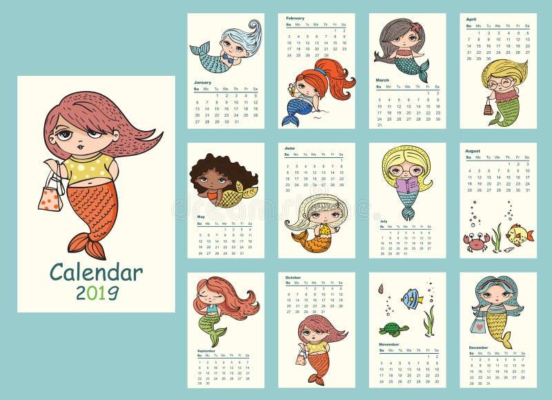 Kalender 2019 med gulliga sjöjungfruar stock illustrationer