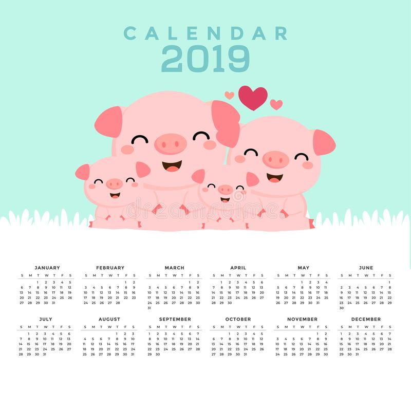 Kalender 2019 med gulliga svin stock illustrationer