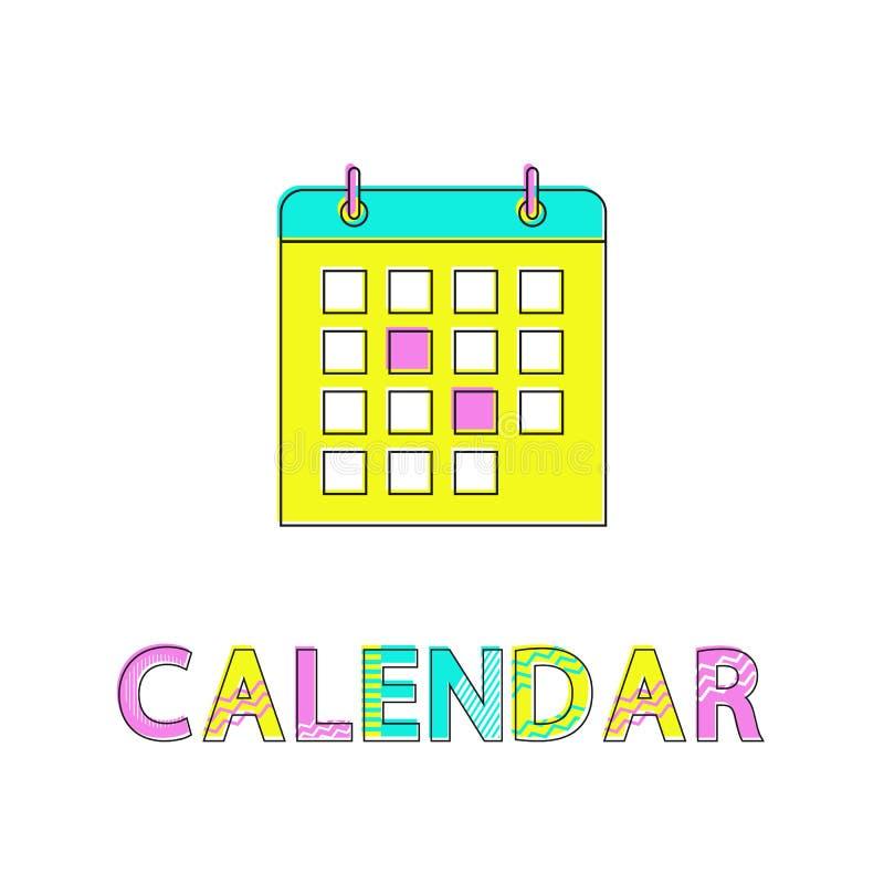 Kalender med illustrationen för Highlighed dagvektor stock illustrationer