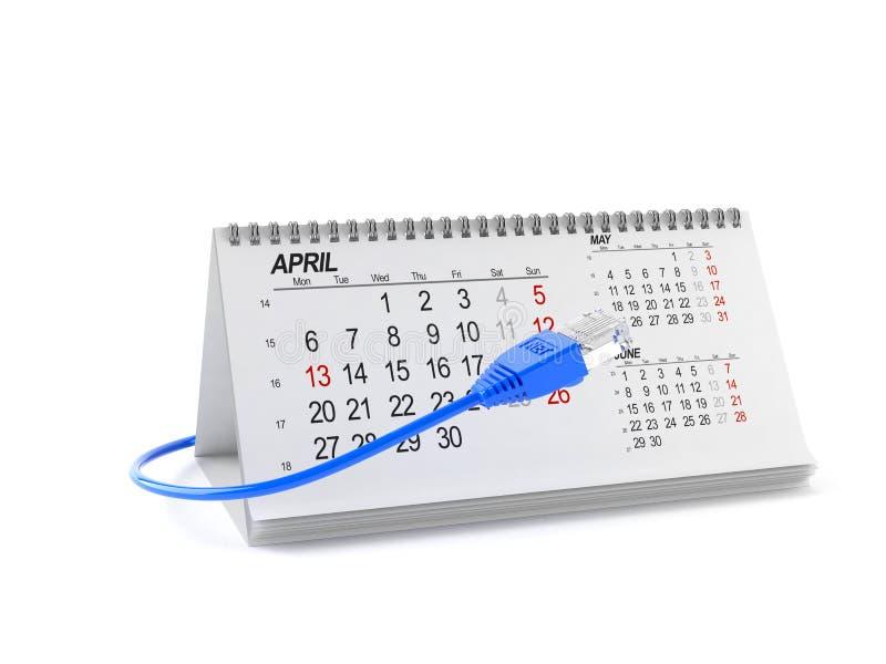 Kalender med internetkabel stock illustrationer