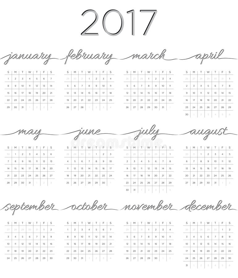 Kalender 2017 med kalligrafi stock illustrationer