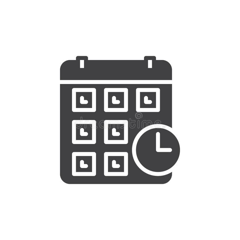 Kalender med klockasymbolsvektorn, fyllt plant tecken, fast pictogram som isoleras på vit vektor illustrationer