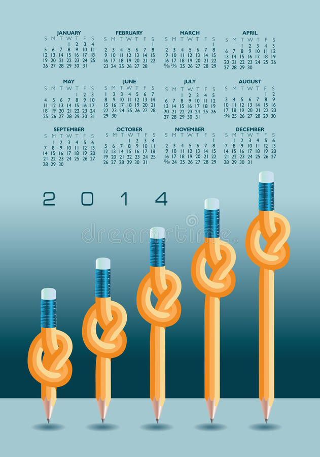 Kalender 2014 med knöt blyertspennor royaltyfri bild
