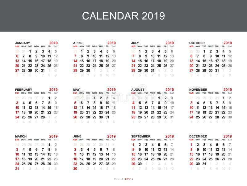 Kalender 2019 med 12 månad på vit bakgrund vektor vektor illustrationer