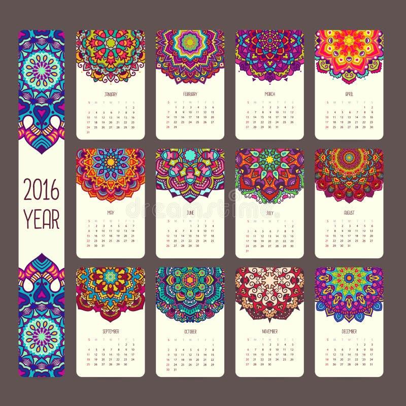 Kalender 2016 med mandalas royaltyfri illustrationer