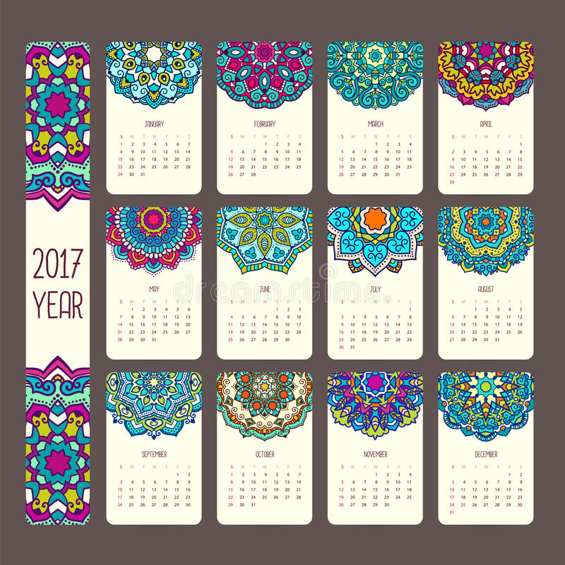 Kalender 2017 med mandalas stock illustrationer