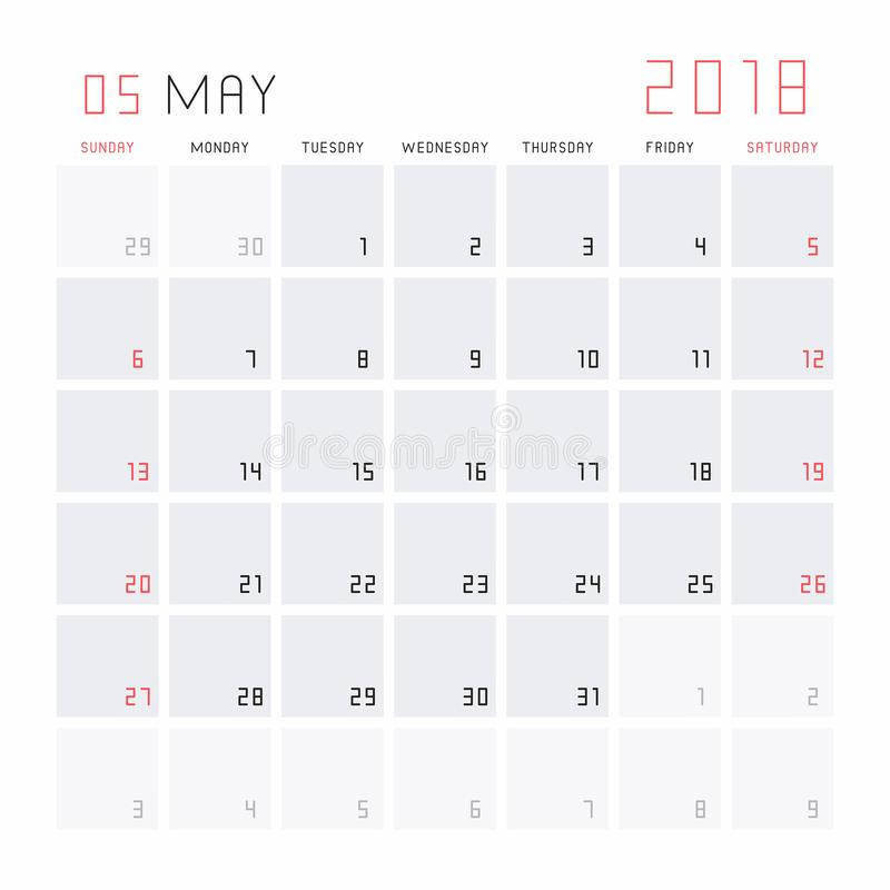 Cute Calendar Mei 2018 : Kalender mei vector illustratie