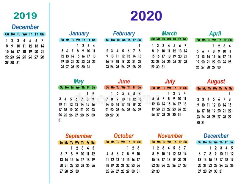 Kalender 2020 met één maand 2019 december royalty-vrije illustratie