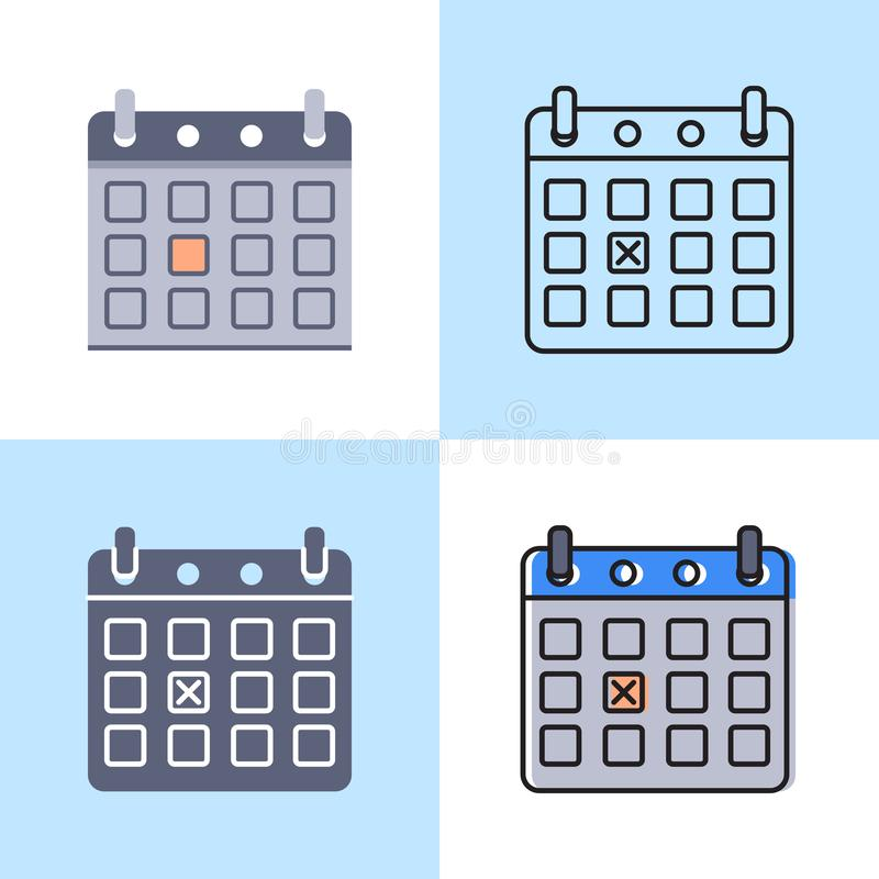 Kalender met dag duidelijk pictogram dat in vlakke en lijnstijl wordt geplaatst vector illustratie