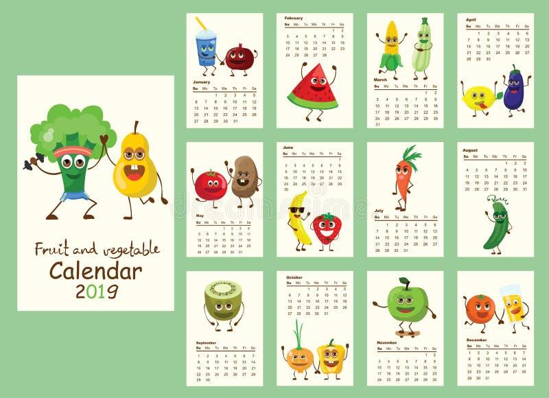 Kalender 2019 met grappige fruit en groenten vector illustratie