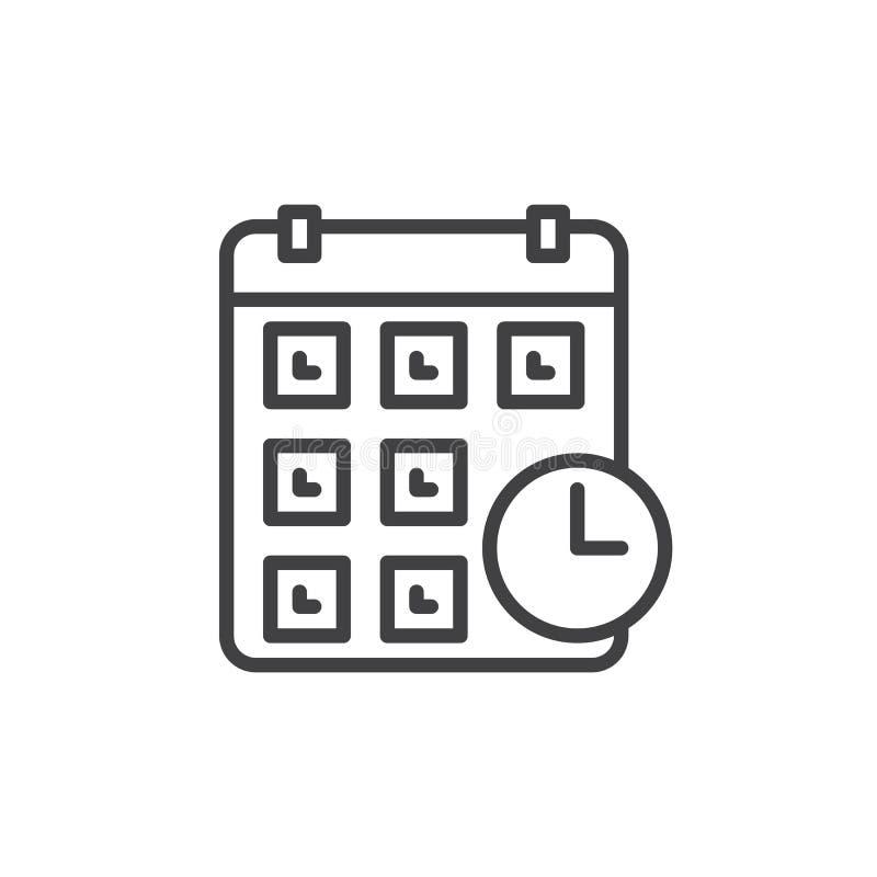 Kalender met het pictogram van de kloklijn, overzichts vectorteken, lineair die stijlpictogram op wit wordt geïsoleerd vector illustratie