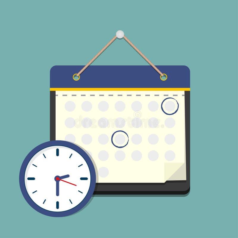 Kalender met klok in een vlak ontwerp programmaconcept stock illustratie