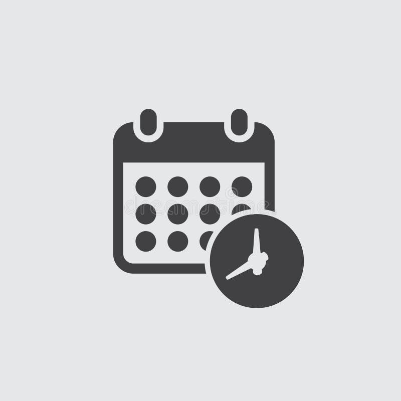 Kalender met klokpictogram in zwarte op een grijze achtergrond Vector illustratie royalty-vrije illustratie