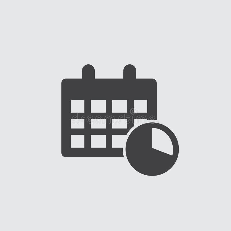 Kalender met klokpictogram in zwarte op een grijze achtergrond Vector illustratie stock illustratie