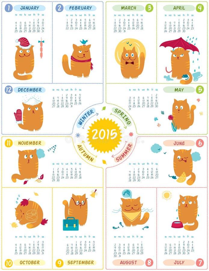 Kalender 2015 met Leuke Katten stock illustratie