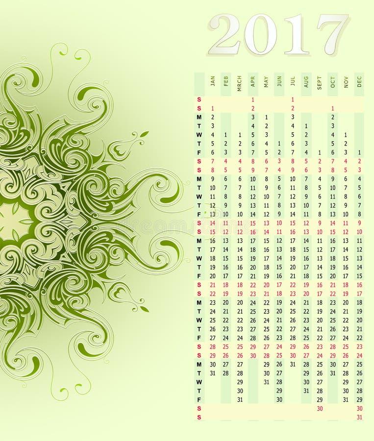 Kalender 2017 met ornament royalty-vrije illustratie