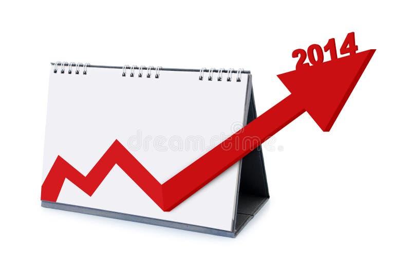 Kalender met pijlen die de groei in 2014 verhogen stock afbeeldingen