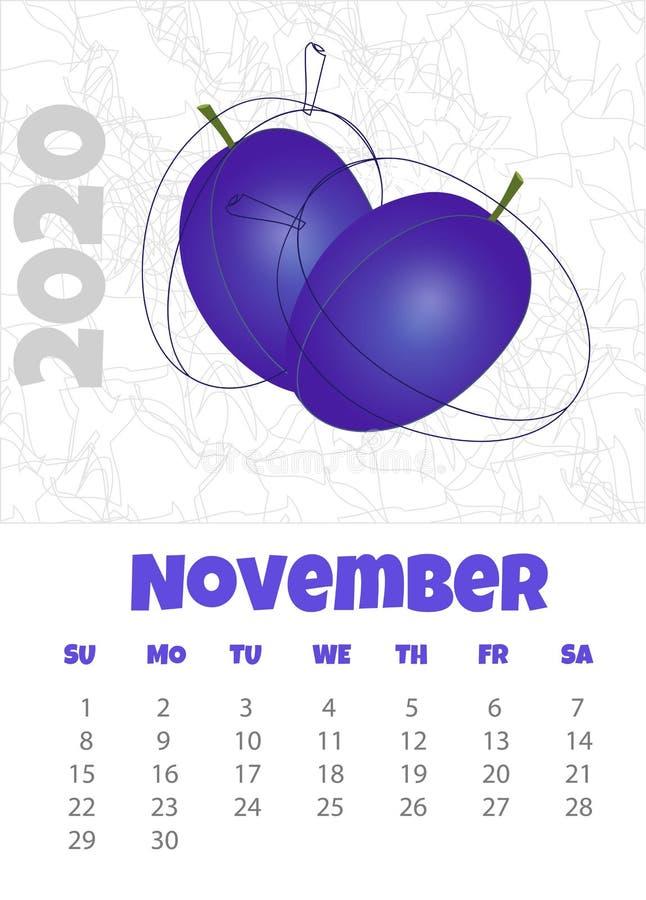Kalender 2020 met Pruim november Vector illustratie royalty-vrije illustratie