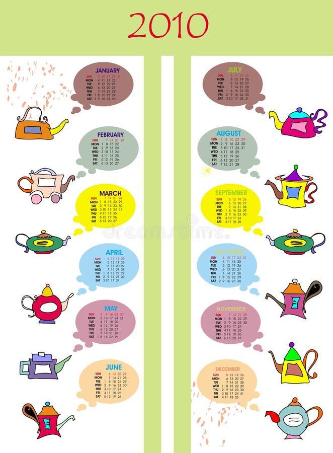 Kalender met theepotten royalty-vrije illustratie