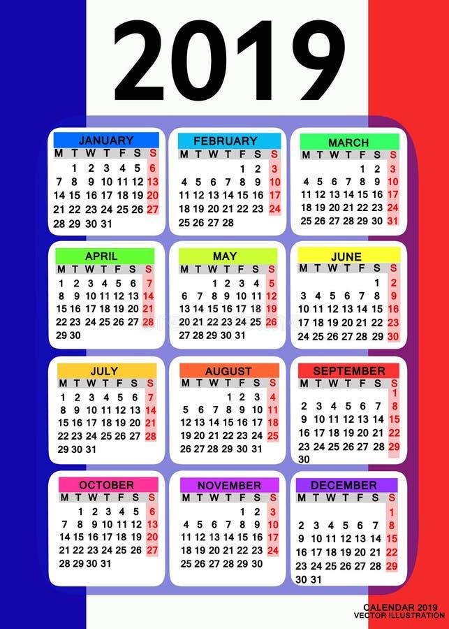 Kalender 2019 met vlag van Frankrijk Vector royalty-vrije illustratie