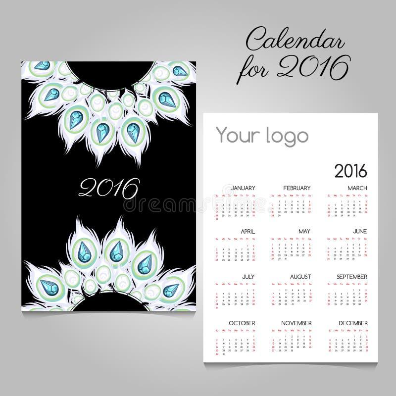 Kalender 2016 met witte veren en diamanten royalty-vrije illustratie