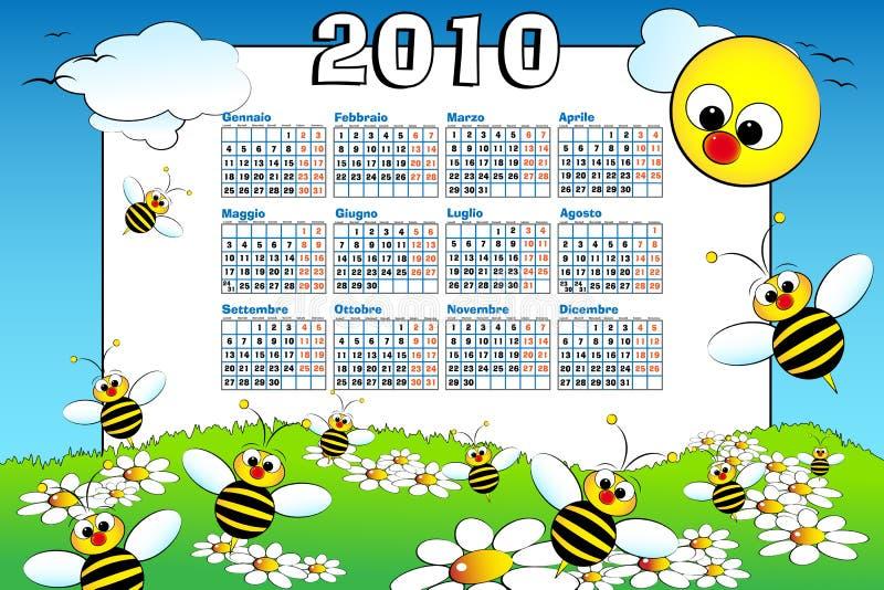 Kalender mit 2010 Kindern mit Bienen - Italiener lizenzfreie abbildung