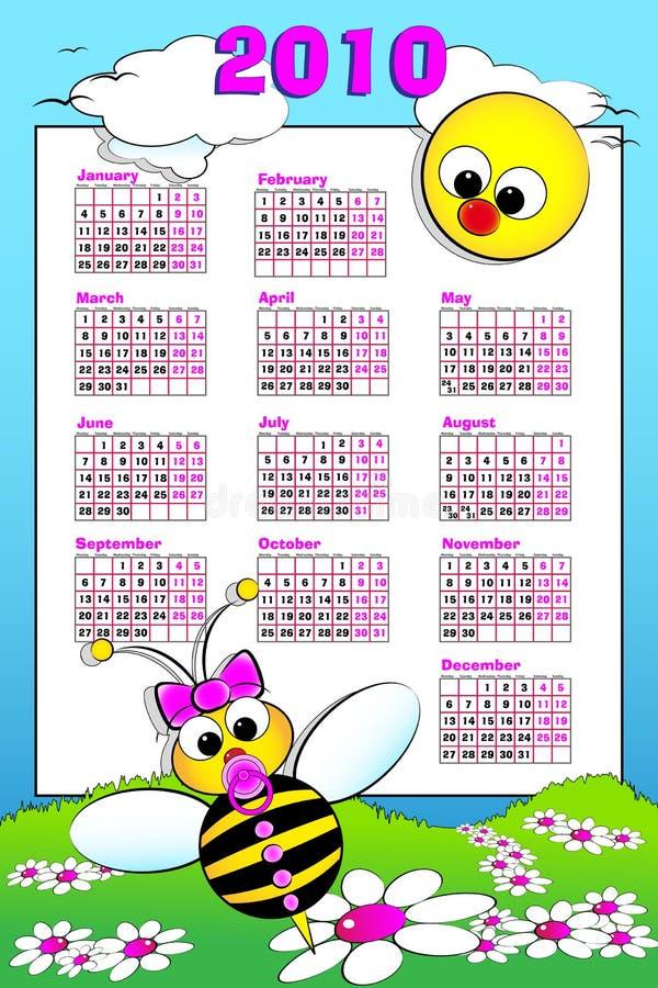Kalender mit 2010 Kindern mit Schätzchenbiene lizenzfreie abbildung