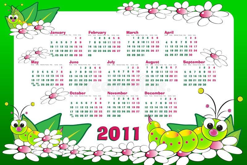 Kalender mit 2011 Kindern mit Maden stock abbildung