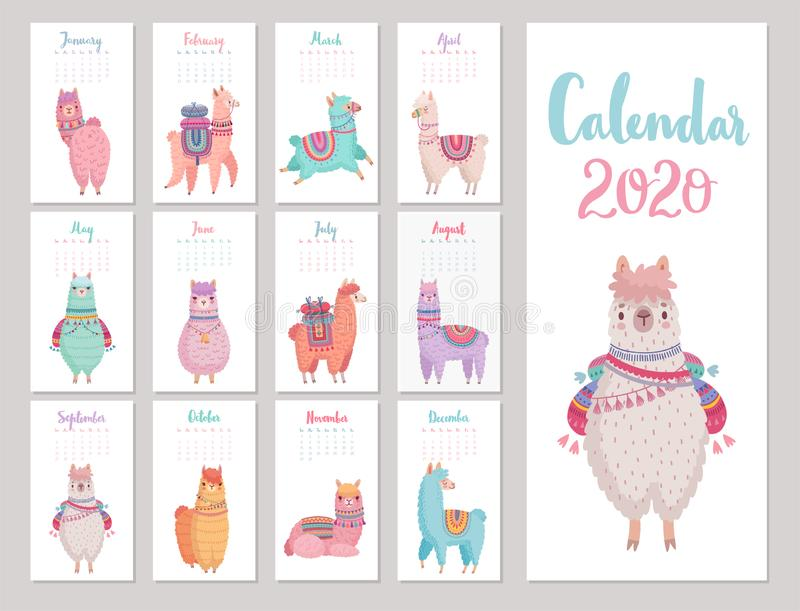 Kalender 2020 mit Cute Llamas Farbenfrohe Alpakas vektor abbildung
