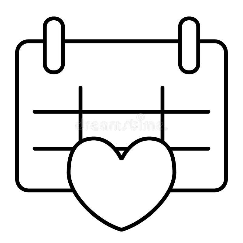 Kalender mit dünner Linie Ikone des Herzens Liebesdatums-Vektorillustration lokalisiert auf Weiß Hochzeitsterminentwurfs-Artentwu stock abbildung