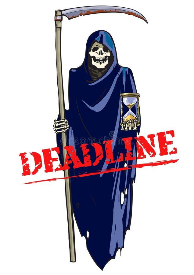 Kalender mit Datums-Ikone innerhalb des Ziels auf Digital-Hintergrund Karikatur-Tod mit Sense und Sanduhr Vektor lizenzfreie abbildung