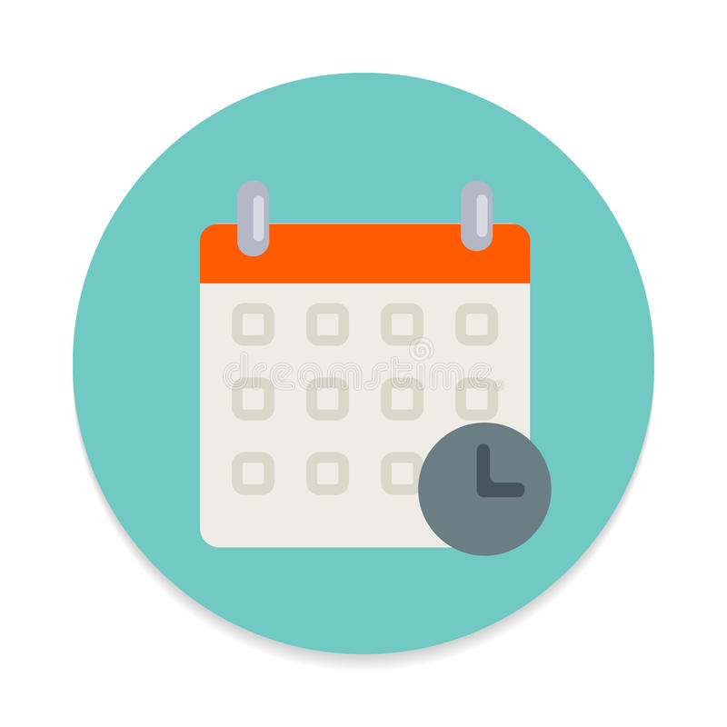 Kalender mit flacher Ikone der Uhr Runder bunter Knopf, Zeitplan, Ereignisdatumskreisvektorzeichen stock abbildung