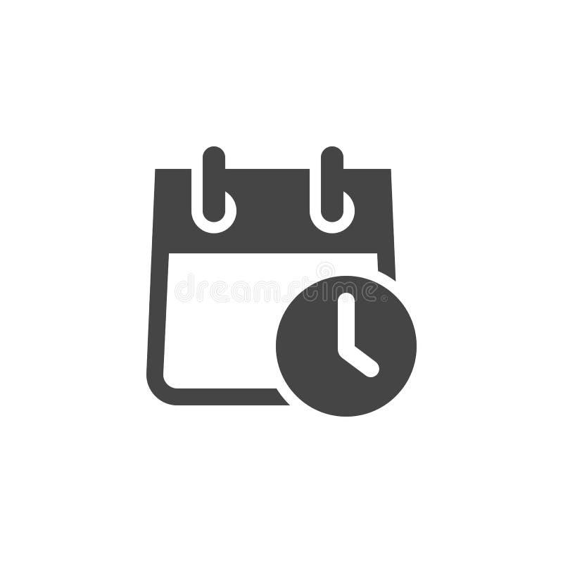Kalender mit flacher Ikone der Uhr Zeitplan, Tagesordnung, Organisator, Genauigkeit, Countdown, Zeitplan, Zeit-Management-Konzept vektor abbildung