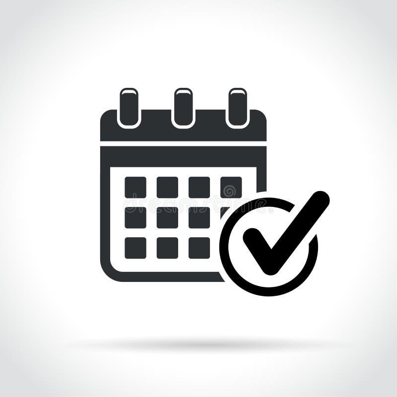 Kalender mit Häkchenikone lizenzfreie abbildung