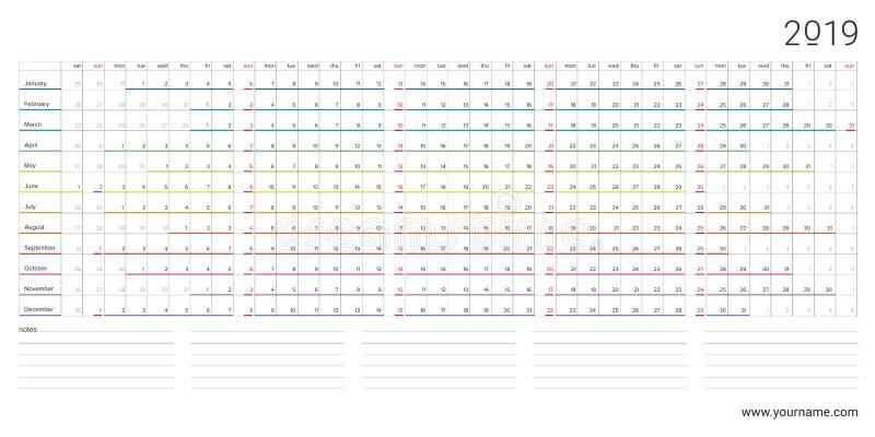 Kalender 2019 mit horizontalem Entwurf des Regenbogens, Sonntage wählte vor stock abbildung