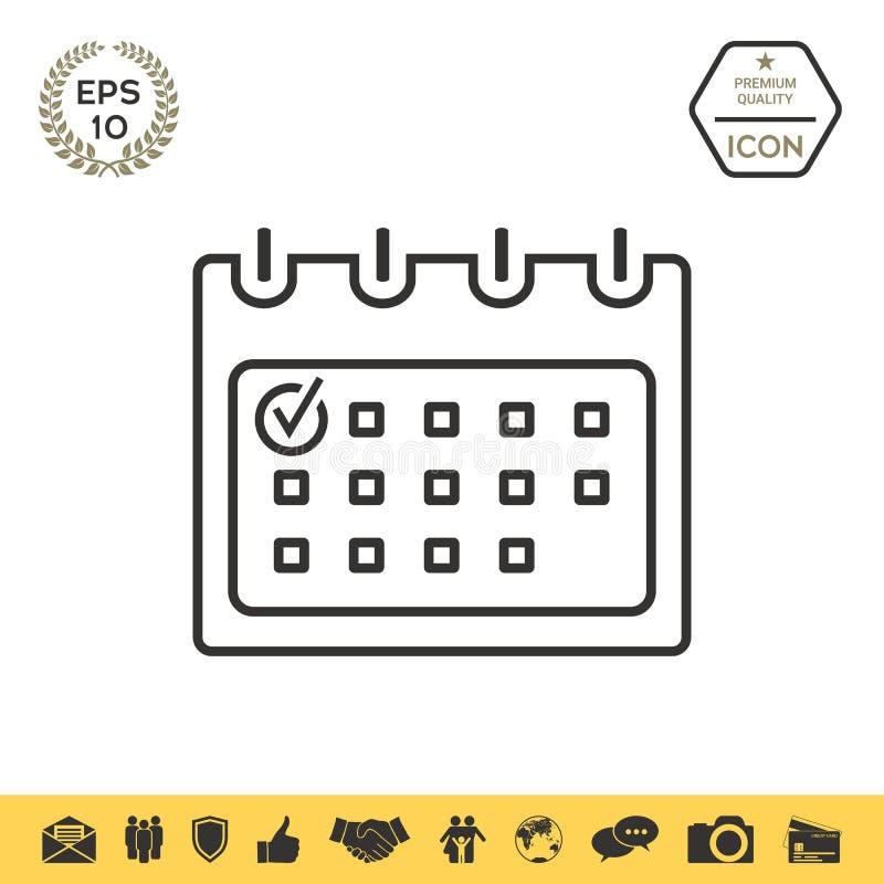 Kalender mit Kontrollkennzeichenlinie Ikone lizenzfreie abbildung