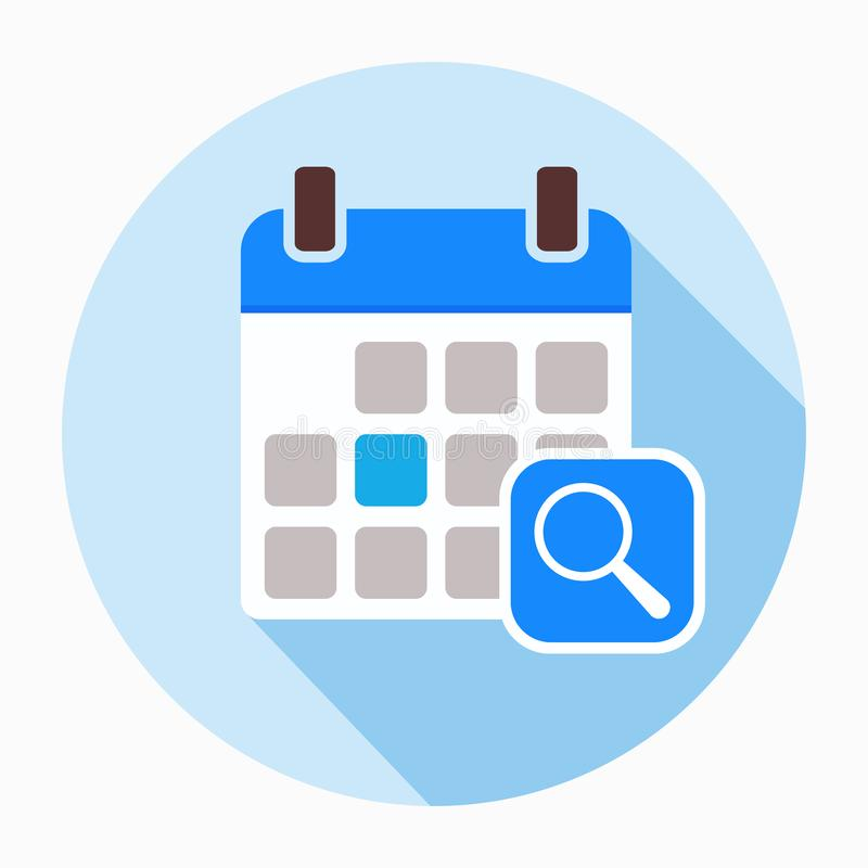 Kalender mit Lupenikonenvektor lizenzfreie abbildung