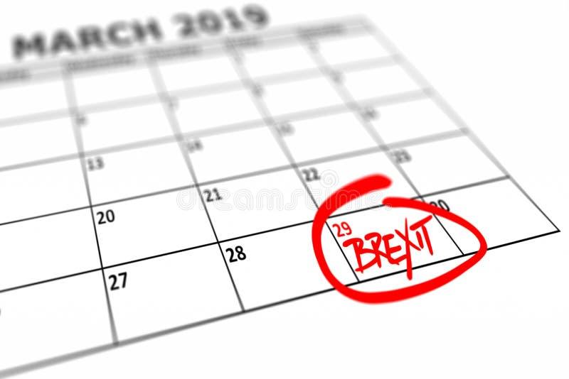 Kalender mit markiertem Datum, am 29. März 2019 als das Brexit fertig sein sollte stock abbildung
