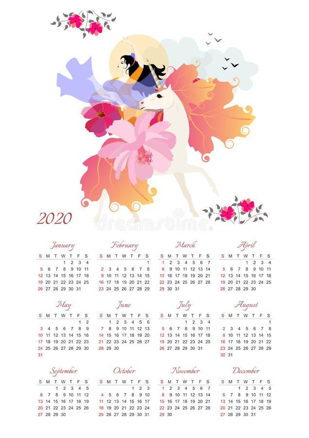 Kalender 2020 mit schönem Mädchen mit Vogel in ihren Händen, die rittlings auf magischem Einhorn sitzen Wochenanf?nge am Sonntag lizenzfreie abbildung