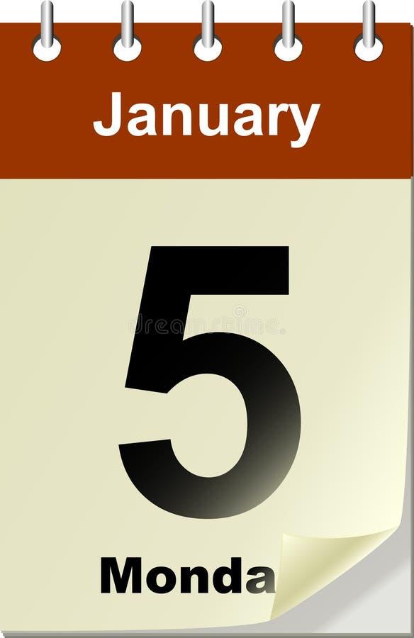 Kalender mit Schlaufenseite lizenzfreie abbildung
