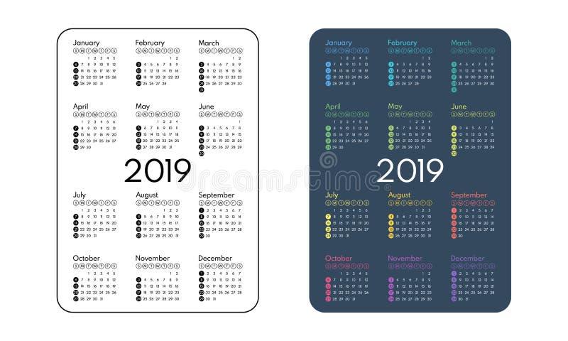 Kalender mit 2019 Taschen, erster Tag Sonntag, Vektor lizenzfreie abbildung